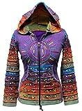 Acid washed multicolor patchwork hoodie, rainbow striped sleeve hippy jacket,boho (l, purple)