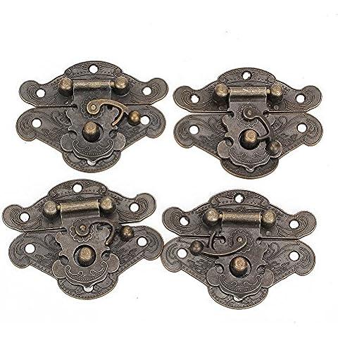WEONE reemplazo decorativo aleación de bronce candado cerrojo M Tamaño de la caja de la joyería de bloqueo (paquete de 4)