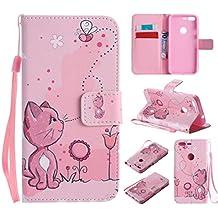 Qiaogle Teléfono Case - Funda de PU Cuero Billetera Clamshell Carcasa Cover para HTC Google Pixel / Nexus S1 (5.0 Pulgadas) - KT11 / Dibujos animados gato