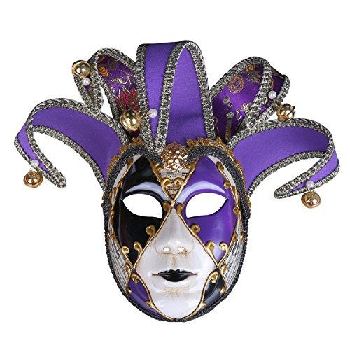 (Bemalte Halloween-Party-Party Maske Gehobene Venedig Lady Performance Maske,Purple)