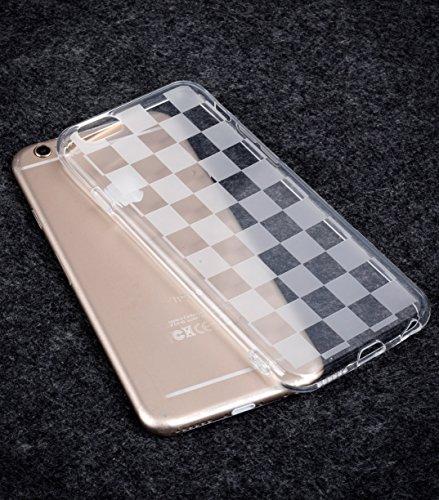 Melkco Slim Shell Type PU étui pour iphone 6 - 4.7 inch (Noir motif crocodile impression) Transparent (Classique Chessboard Grainy)