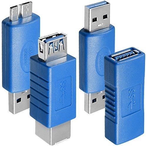 4 Arten von USB 3.0-Adapter, AFUNTA Typ-A-Buchse auf Buchse und Stecker auf Stecker, Typ A-Buchse auf B-Buchse, Micro-B-Stecker auf TypA-Stecker, High-Convert-Speed-Verlängerung Kupplung Steck Usb-adapter-stecker