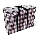 Borsa Tessuta Impermeabile/Sacchetto di imballaggio in Movimento/Sacchetto di immagazzinaggio Multiuso/Borsa per i Bagagli/Sacchetto Blu Bianco Rosso Panno di Oxford, Extra Large, Reticolo Nero