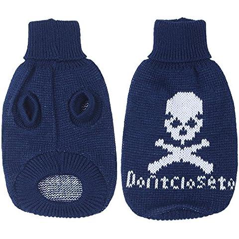 Suéter del perro t-shirt suéter caliente ropa ropa de la capa - Azul, S