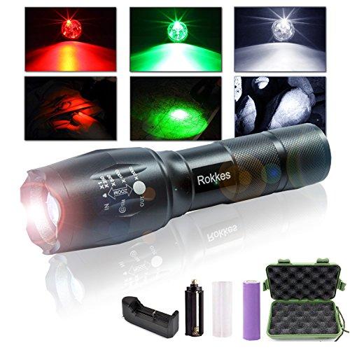 LED-Handtaschenlampe mit Akku von Rokkes, zoombar, wiederaufladbar, professionelle und extrem helle Taschenlampe mit 3Cree-LEDs und 1.500 Lumen, 3-farbiges RGB-Licht, taktische tragbare Taschenlampen mit Akkugröße 18650