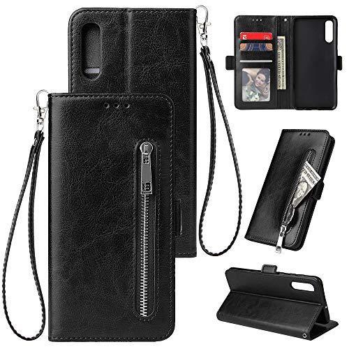 WIWJ Kompatibel mit Samsung Galaxy A50 Hülle Reißverschluss Lederhülle Wallet Handyhülle Klapphülle Ultra Slim Flip Case Stand Schutzhülle 360 Grad Bumper Tasche-Schwarz