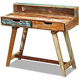 vidaXL Escritorio Mesa Vintage Dos Cajones Madera Maciza Reciclada 100x45x90cm