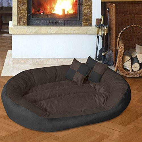 hundeinfo24.de BedDog 4in1 Hundebett SABA/Wende-Hunde-Kissen oval-rund/großes Hundekörbchen/abwischbares Hundebett mit Rand/für drinnen & draußen/XXL/MOCCA/schwarz-braun