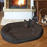BedDog 4 en 1 SABA marron/negro XXL aprox. 110x80cm colchón para perro, 7 colores, cama para perro, sofá para perro, cesta para perro