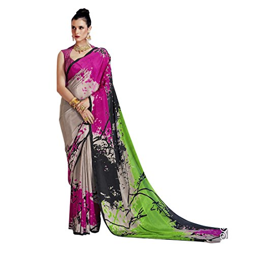 Ligalz Crepe Saree With Blouse Piece (RJ502051_Pink_Free Size)