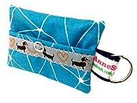 kackb eutel Bleu pétrole Motif Distributeur de Sacs à déjections canines pour chien sachet Friandises Sacoche en toile cirée Promenades Waste cadeau propriétaire de chien dunette Bag chien