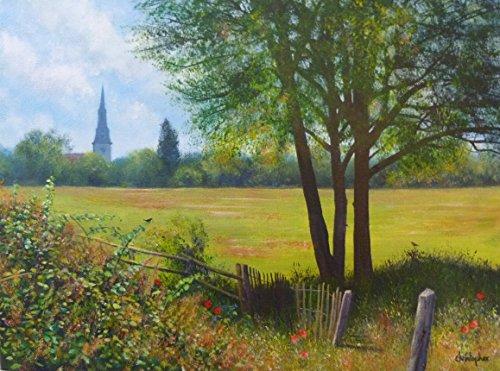 pittura-del-paesaggio-originale-prati-della-chiesa-acrilico-40cm-x-30cm-chiesa-di-mistley-campagna-d