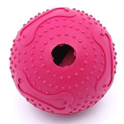 ThinkPet Snackball aus Gummi, interaktive Hundespielzeuge, Rot, Mittelgroß