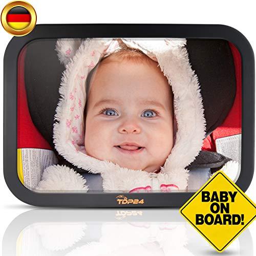 """TDP24 Autospiegel Baby I Rückspiegel Baby Auto - Bruchsicherer Rücksitzspiegel für Babys mit maximaler Sicherheit – Spiegel Auto Baby mit """"Baby on board"""" Schild + E-Book"""