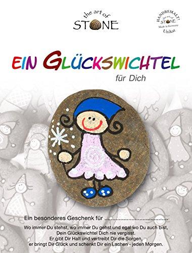 The Art of Stone Glückswichtel Stein Für Dich in RosaWeißBlau mit Spirale, individualisierbarer Glücksstein, von Hand bemalt -