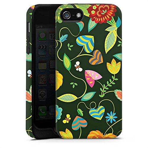 Apple iPhone 5s Housse Étui Protection Coque couleurs Fleurs Fleurs Cas Tough terne