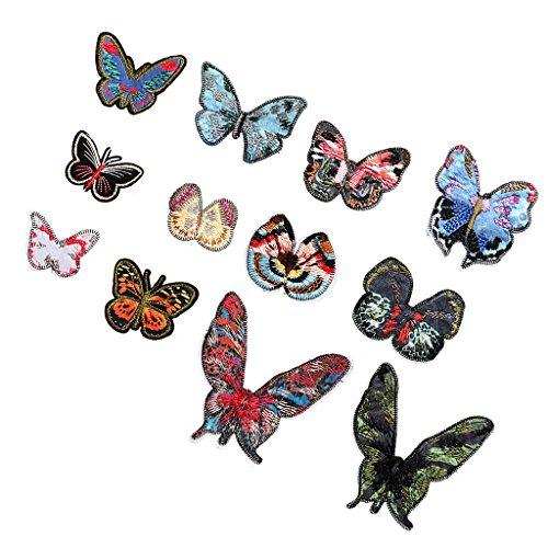 12x Vintage Schmetterling Patch Eisen Auf Applique Alternative Kleidung Stickerei (Bettwäsche Flecken Schmetterling)