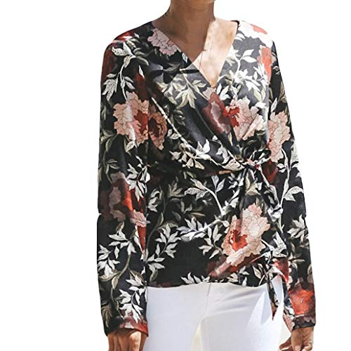 Sale Clearance Women's Blouse Sunday77 Tops Daily V-Neck Adjustable Print Floral Loose Full Sleeve T Shirts Casual Shirt Lady