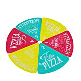 Pizzateller 6teilig bunt Kunststoff Pizzastücke Pizza Pizzastück Teller eckig