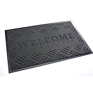 High Quality Rug & Shoe Scraper ✓ Extremely Durable ✓ Exterior and Interior ✓ Washable ✓ PVC Free - Entrance Mat, Welcome Mat - Exterior dust mat, Dirt trapping mat (WELCOME 40x60 cm, gray)
