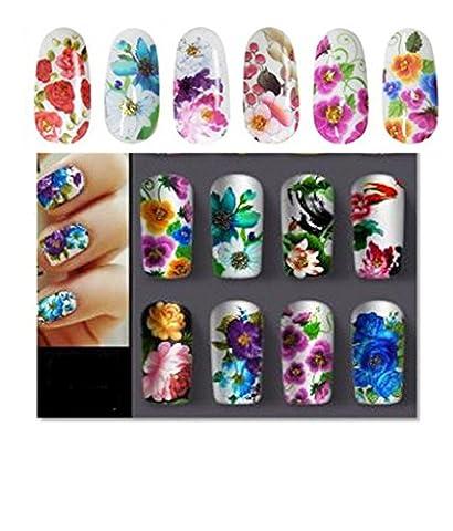12Sheets / lot Belle Fleur Nail eau Autocollants Decal eau Transfert Nail Art Stickers-Envoyer Couleurs Aléatoirement