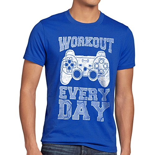 style3 Gamer Workout Herren T-Shirt play sport station controller ps game, Größe:L;Farbe:Blau