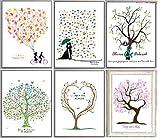 DIY Fingerabdruck Unique Wedding Gästebuch Baum sich, im Buch für Hochzeit Jahrestag Geburtstag Signature 30x39,9cm rahmenlose Leinwand mit 2Set Tinte Pad, fingerprint tree#1, 30*40 cm