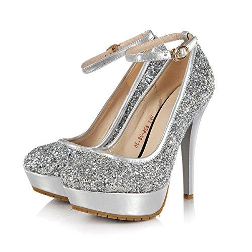 YE Frauen-Absatz geschlossene Zehe-Stilett-Plattform-Knöchel-Bügel Sequin-Partei-Schuhe Pumps mit Schnallen Gold Silber Schwarz Silber