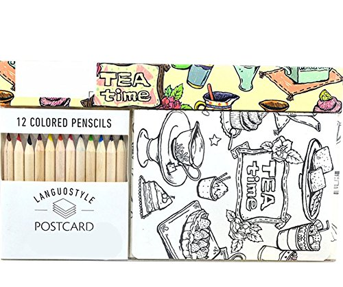 Da.Wa Postkarte Kreativ Farbenfrohes Leben Kunstpostkarte Set Handgemalt Färbung for Geburtstagskarte Grußkarten Schreibwaren,Mit 12 Farbe Stifte,12 Postkarten