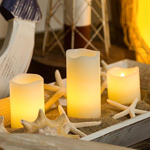 Pack 6 velas de cera a pilas Ø 5 cm, LED luz cálida, efecto llama, luces a pilas, luces de Navidad, velas LED