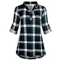 Cestyle Plaid Shirt Women,Roll Sleeve Tunic Checkered Top Collared V Neck Grid Print Relaxed Fit Figure Flattering Elegant Modest Youth Blouse Blue&Green Large