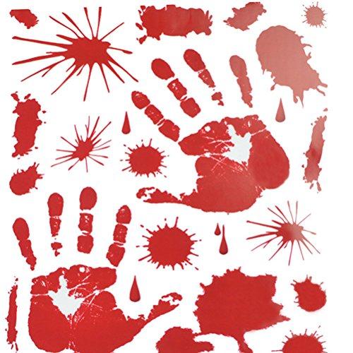 BESTOYARD Red Graphic bludy Sticker Spritzer Handabdruck für Halloween-Kostüm, Deko-Aufkleber (Blut-Handabdruck) (Makeup Halloween Wunde)