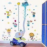 DecalMile Tabella Di Altezza Adesivi Murali Elefante Mare Stickers Vinile Removibile Adesivi Da Parete Decorazioni per Bambini Vivai Soggiorno Camera Da Letto