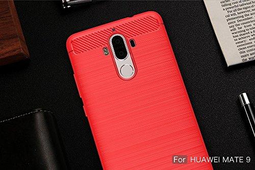 EKINHUI Case Cover Dünne und Leightweight gebürstete Carbon Fiber Robuste Rüstung Back Cover Stoßstange Fall Shockproof Drop Resistance Shell Cover für Huawei Mate 9 ( Color : Gray ) Red