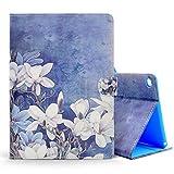 MoEvn iPad Air 2 Hülle, iPad 6 Tasche, PU Leder Schutz Hülle HandyHülle Premium Kunstleder Flip Case mit Standfunktion und Kartenfächer Klapptasche Cover für iPad Air 2/iPad 6, Weiße Blumen