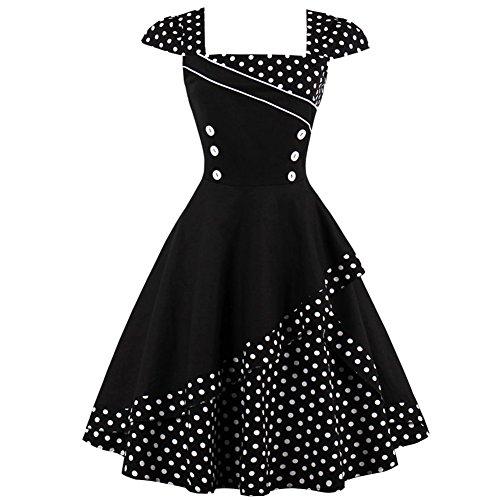 iBaste Vestiti Vintage Donna Anni 50 Cocktail Risvolto Swing Abito Polka Dots Classico Nero