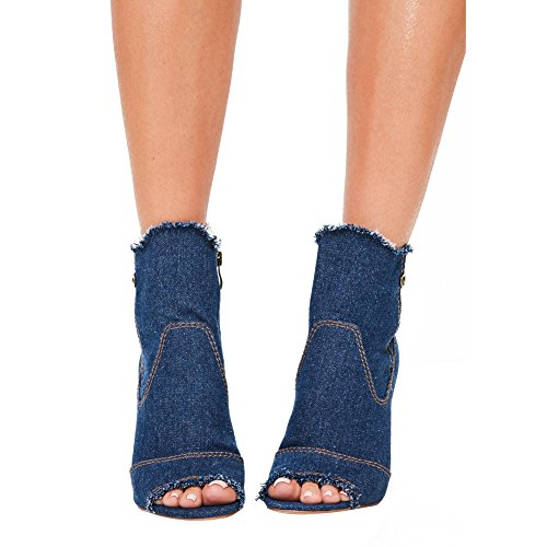Damen Peep Toe Cowboy Kurzschaft Stiefel Transparent Blockabsatz Reißverschluss Dunkelblau