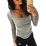 ZARU Blusa de las mujeres ocasionales adelgazan ajustado de manga larga camisa de algodón de las tapas Pullover Gris