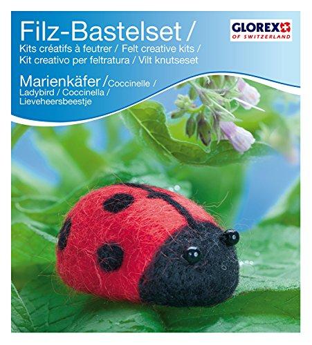Glorex GmbH 6 2902 601 – Filz-Creativ-Set Marien- käfer, 7 x 3,5 cm