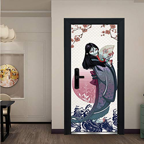 zpbzambm Japanische Lange Zunge Teufel Tür Aufkleber DIY Hause Halloween Dekorationen Aufkleber Selbstklebende PVC Tür Wandbild Holz Tür Erneuern Wandbild 90X200 cm