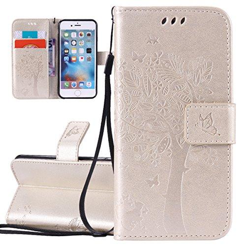 Custodia iPhone 6, ISAKEN Custodia iPhone 6S, iPhone 6 Flip Cover, Elegante borsa Dente di leone Design Custodia in Pelle Protettiva Portafoglio Case Cover per Apple iPhone 6 4.7/ con Strap / Support Albero: gold