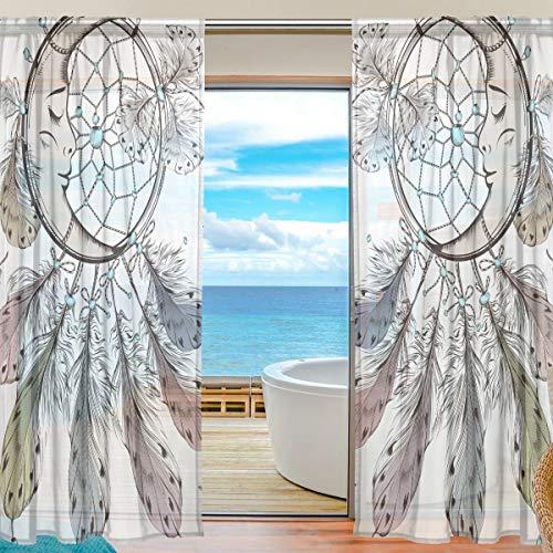 Sheer Curtain Patrón de Luna Atrapasueños Plumas Voile Cortinas para Ventanas de Tul, 2 Paneles para el hogar Cocina Dormitorio Sala de Estar, 55 An. X 78 L Pulgadas