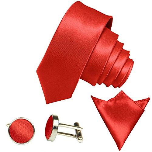 tenset, 6Cm Schmale Hell-Rote Herren-Krawatte Dünn Manschettenknöpfe Ein-Stecktuch, Bräutigam Hochzeitskrawatte Glänzend ()