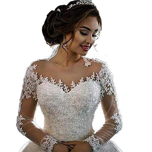 CoCogirls Elegant Braut Lange Ärmel Hochzeitskleider Schier Hals Spitze Applikationen Perlen...