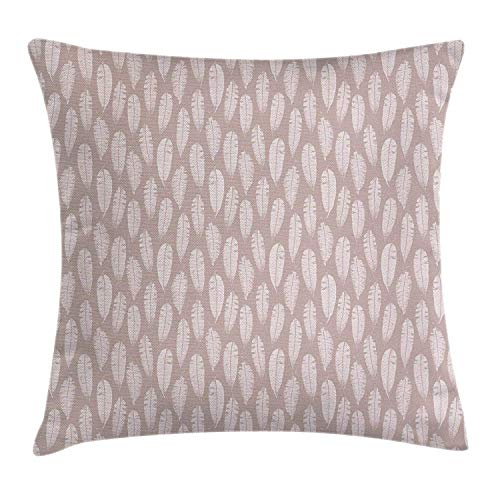 Autumn Throw Pillow Cushion Cover, Leaves Woodland Foliage Grunge Style Composition Fall Season, Decorative Square Accent Pillow Case, 18 X 18 Inches, Pale Dried Rose Warm Taupe