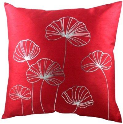 New Lily, Einfarbig, Rot Kissenhülle mit Silber Blumen (Lily Zip)
