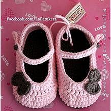 Patucos Merceditas para bebé de crochet, de color Rosa bebé y marrón, 100%