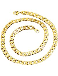 264df37474c BoomYou Faux collier de chaîne en or Faux plaqué or 18 carats Acier  inoxydable pour hommes