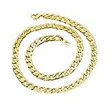 BoomYou Gefälschte Goldkette Halskette 18 Karat Faux Gold überzogen Mens Edelstahl Twist Seil Figaro Punk Style Schmuck - 7mm Breite - Gold