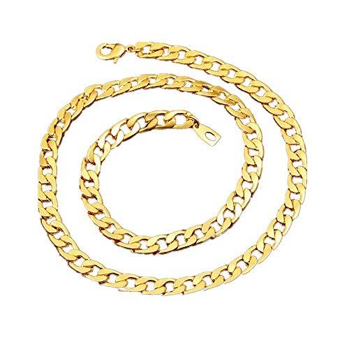 Goldkette Halskette 18 Karat Faux Gold überzogen Mens Edelstahl Twist Seil Figaro ()